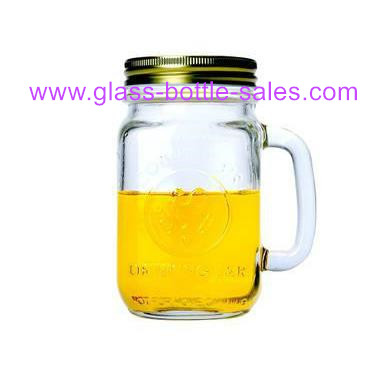 500ml Glass Mason Jar With Handle and Metal Lid