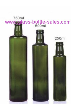 Round Dark Green Olive Oil Glass Bottle