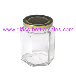 280ml Hexagonal Glass Jar With Lid