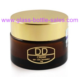 30g Amber Glass Cosmetic Jar With Gold Lid