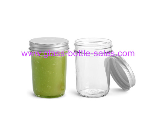8oz Tapered Glass Mason Jar With Lid
