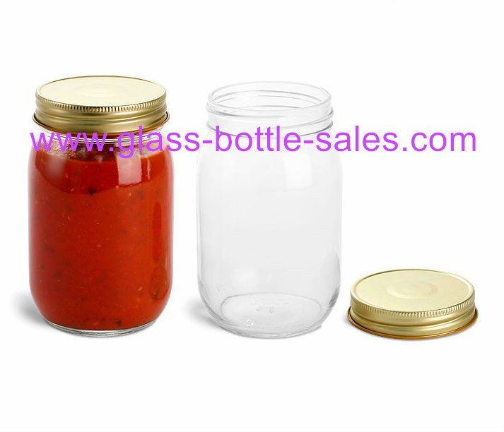 16oz Clear Glass Mason Jar With Lid
