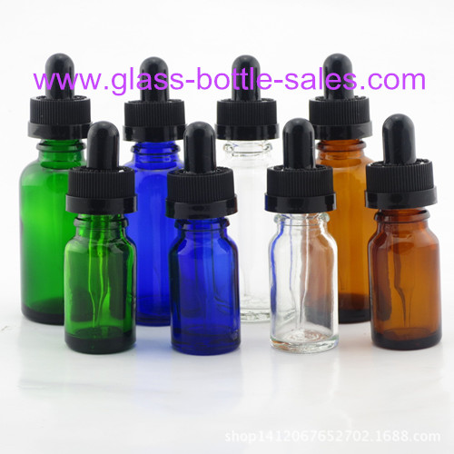 Clear,Amber,Blue,Green Electronic Cigarette Oil Glass Bottles With Black Droppers