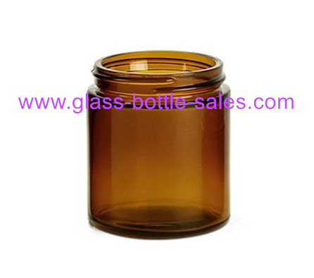 8oz Amber Round Glass Food Jar