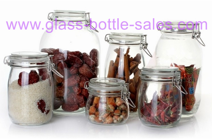 Clear Airtight Glass Storage Jar With Clip Lid
