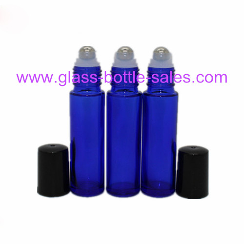 10ml Blue Perfume Roll On Bottle With Steel Roller And Cap