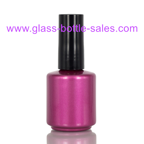 15ml Purple Glass Nail Polish Bottle With Cap and Brush