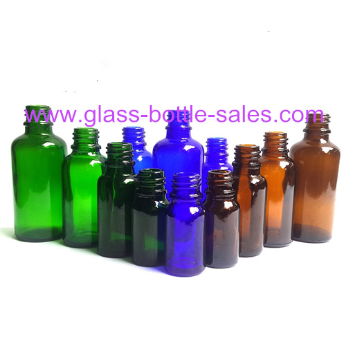 Amber,Blue And Green Essential Oil Bottles