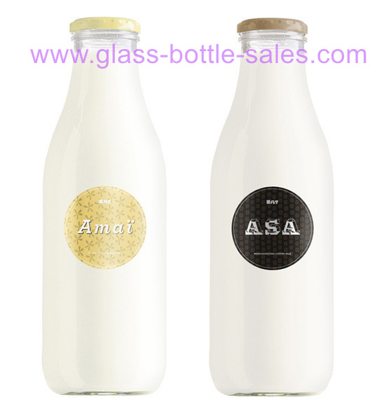 1000ml Clear Round Glass Milk Bottle