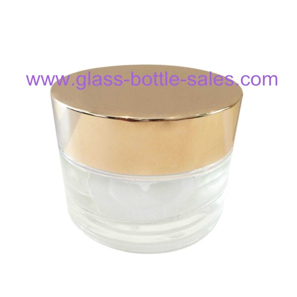 Clear Round Glass Cosmetic Jar With Lid