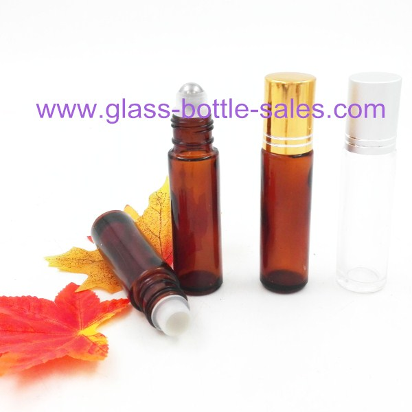 10ml Clear,Amber Perfume Roll On Glass Bottle