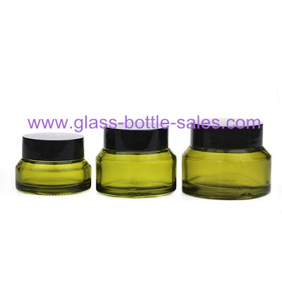 15g,30g,50g Olive Green Sloping Shoulder Glass Cosmetic Jar With Lids