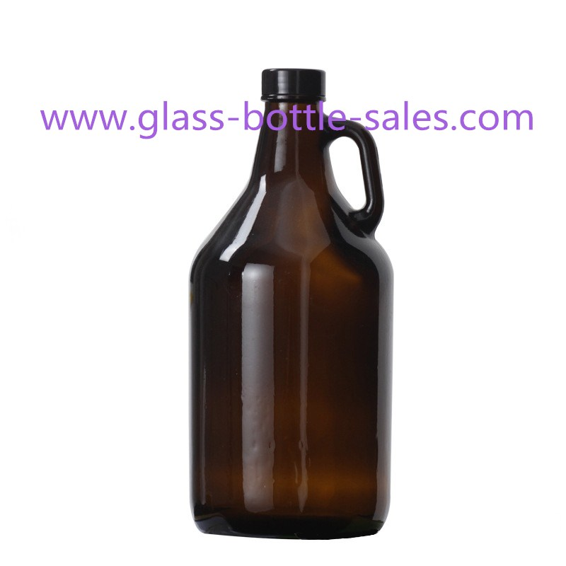 2L Amber California Wine Bottle With Handle