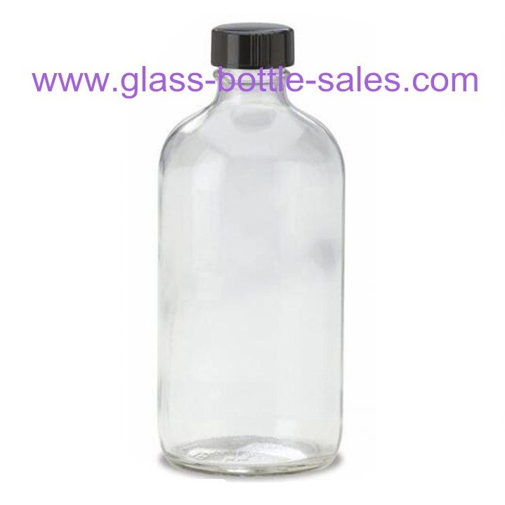 16oz Clear Boston Round Glass Bottle With Cap