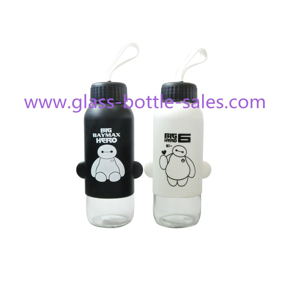 300ml Clear Water Glass Bottle With Silicone Cover