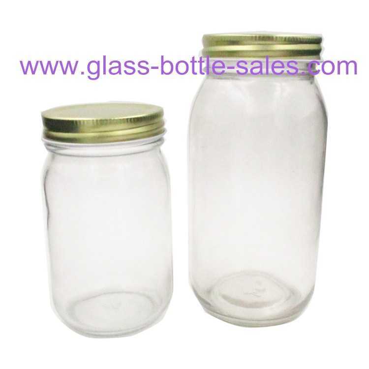 500g,1000g Clear Round Glass Honey Jars With Lids