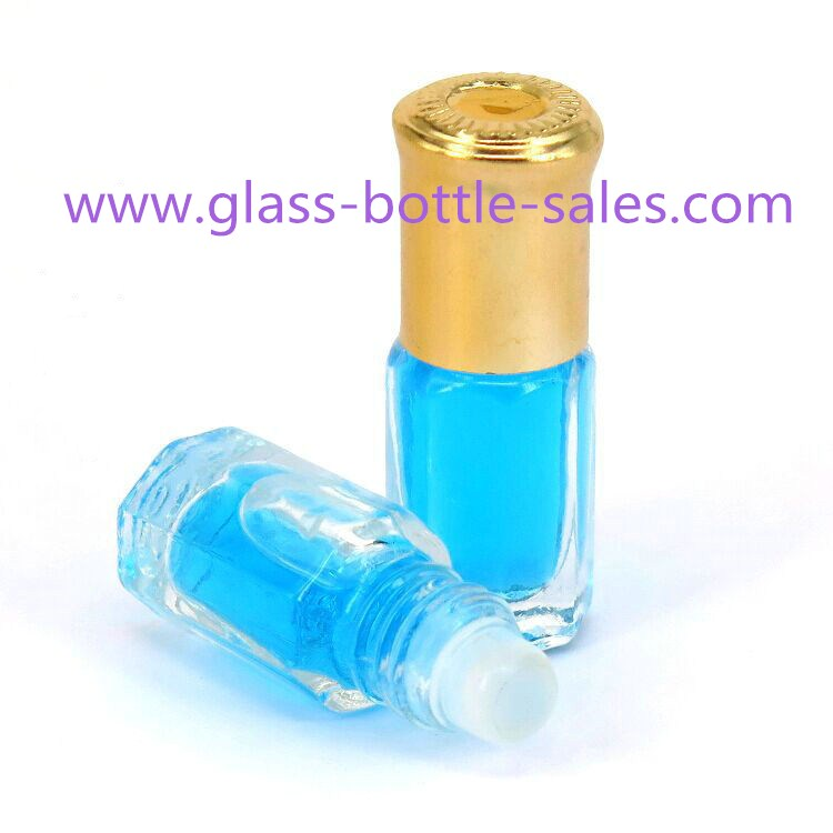 3ml Clear Perfume Roll On Bottle With Cap and Roller