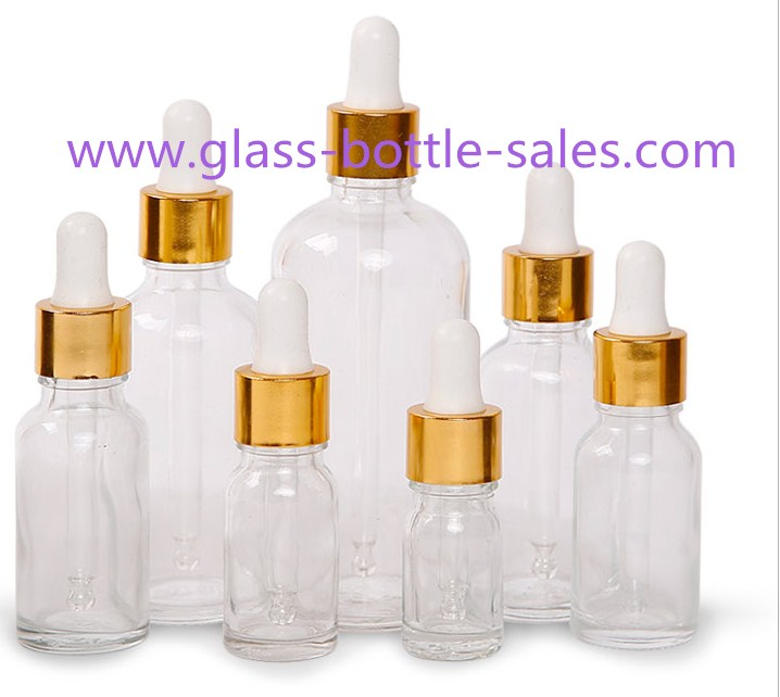 Clear Round Essential Oil Bottles With Gold Droppers