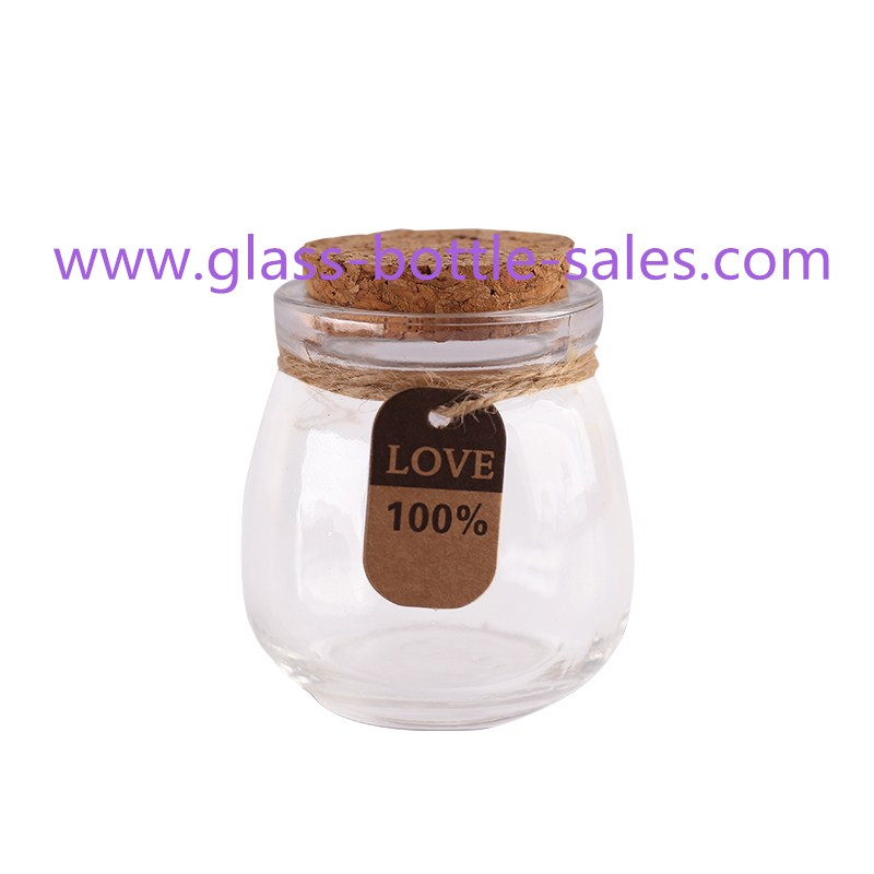 New Item Clear Glass Pudding Bottle With Cork