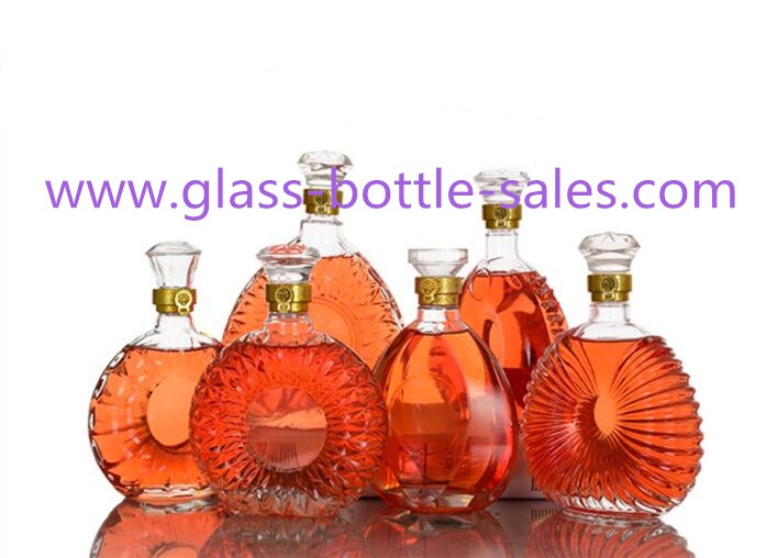 250ml-1000ml Clear High Quality Brandy XO Liquor Glass Bottles