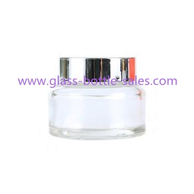 30g Sloping Shoulder Clear Glass Cosmetic Jar With Black lid