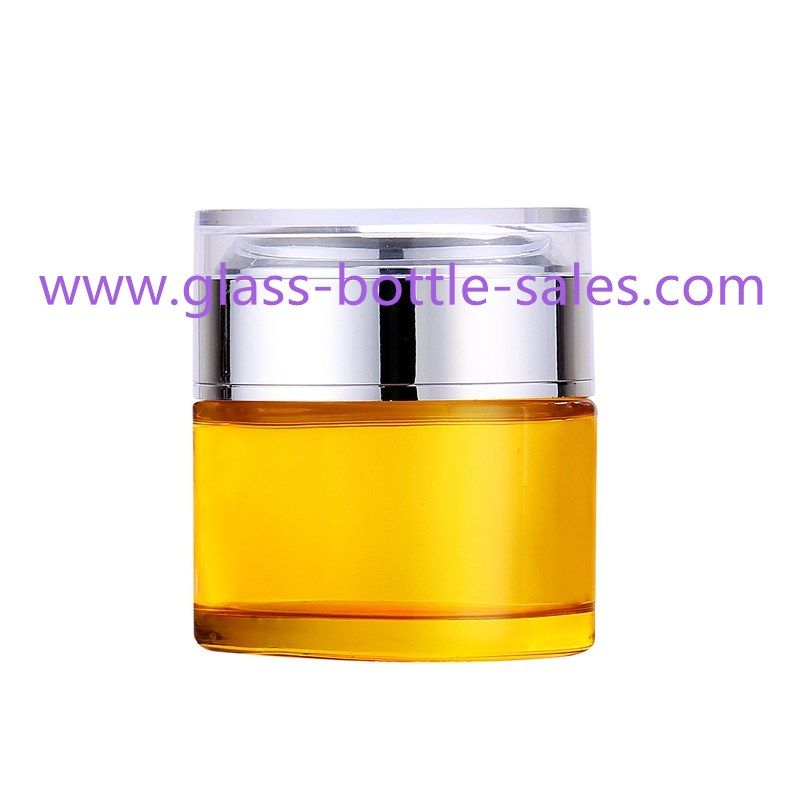 50g Colored Round Glass Cosmetic Jar With Double Lid