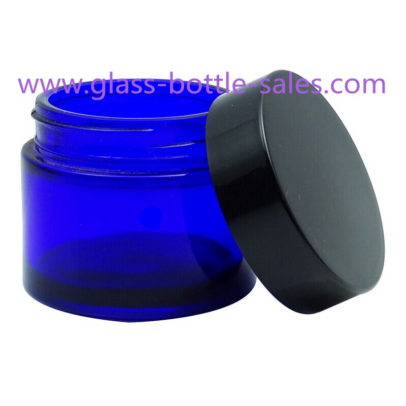 20g,30g,50g Blue Round Glass Cosmetic Jar With Lid