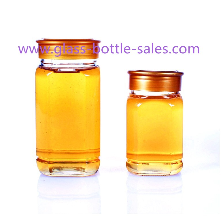 500g,1000g Clear Square Glass Honey Jars With Lids