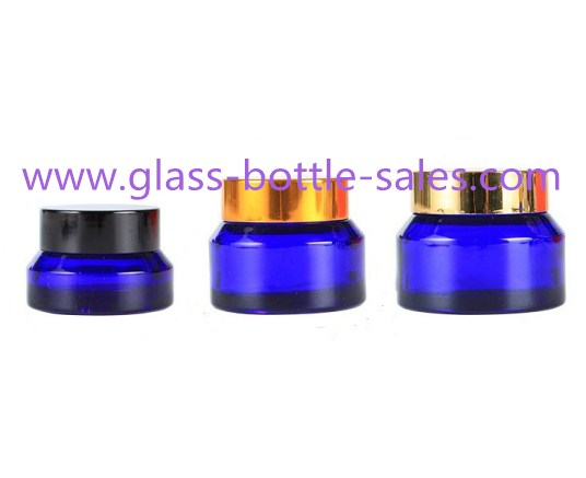 15g,30g,50g Blue Sloping Shoulder Glass Cosmetic Jars