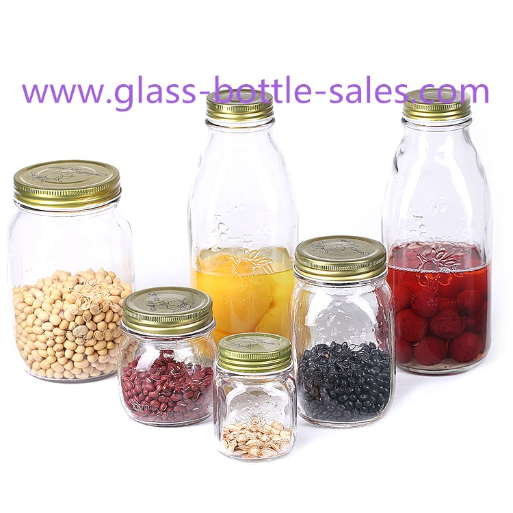 150ml-1000ml Clear Glass Food Storage Jars With Lids
