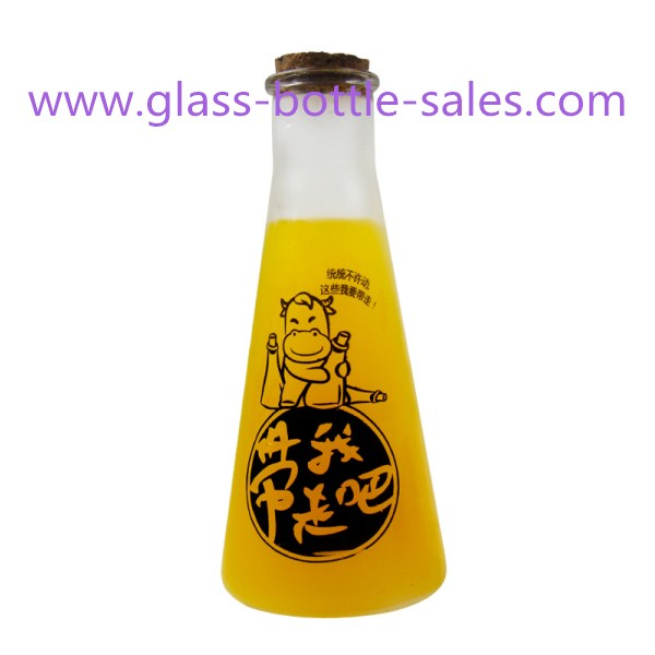 300ml Frost Glass Juice Bottle With Cork