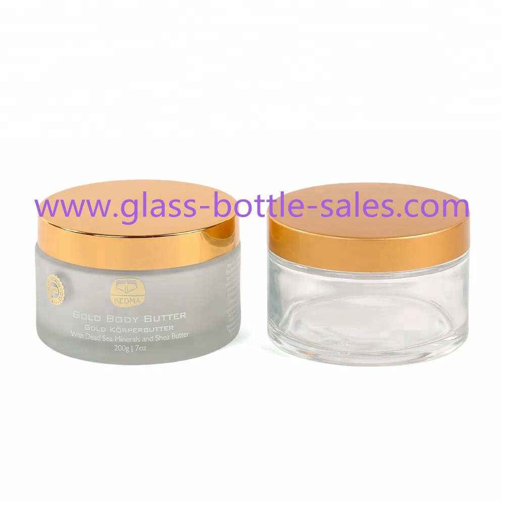 200g Clear Frost Round Glass Cosmetic Jar With Lid