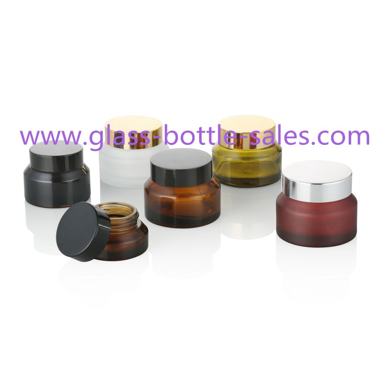 15g,30g,50g Sloping Shoulder Glass Cosmetic Jars With Lids
