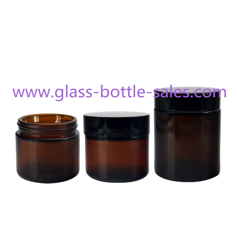 60g,100g Amber Round Glass Cosmetic Jars
