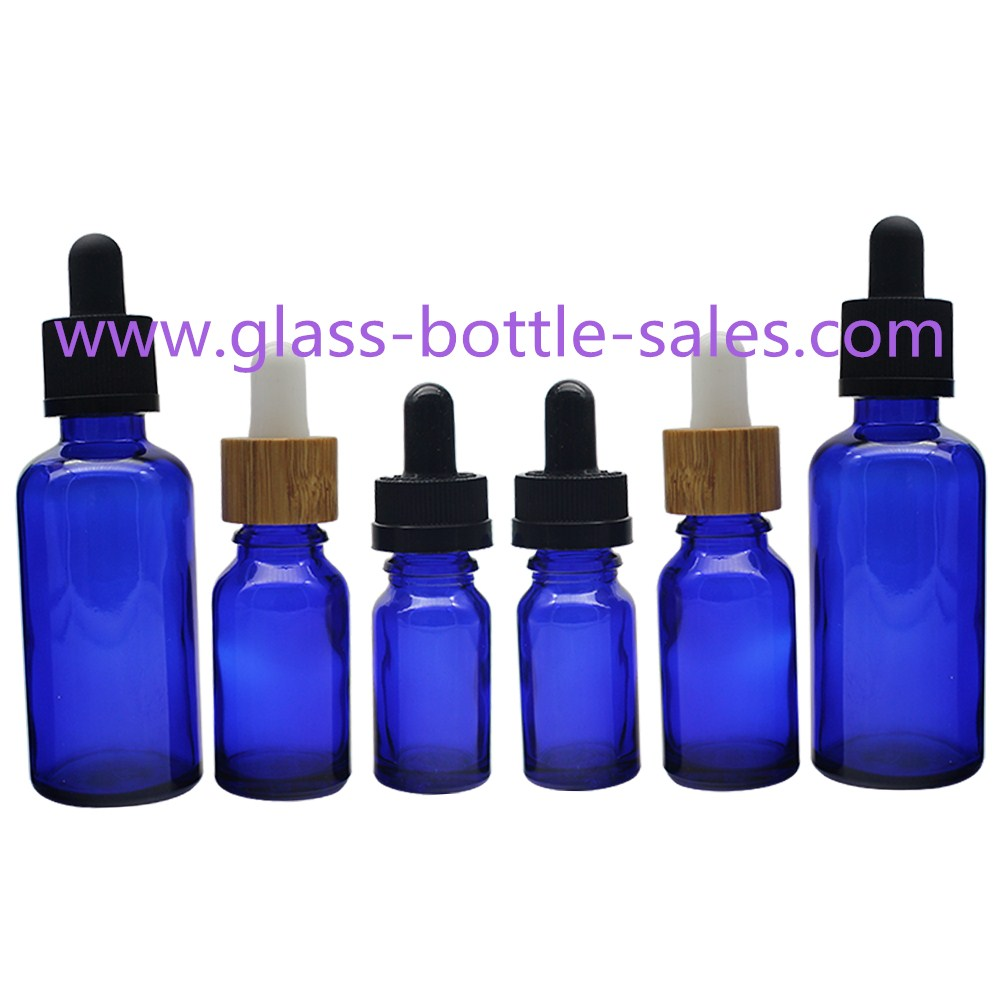Blue Essential Oil Glass Bottles With Bamboo/Plastic Droppers