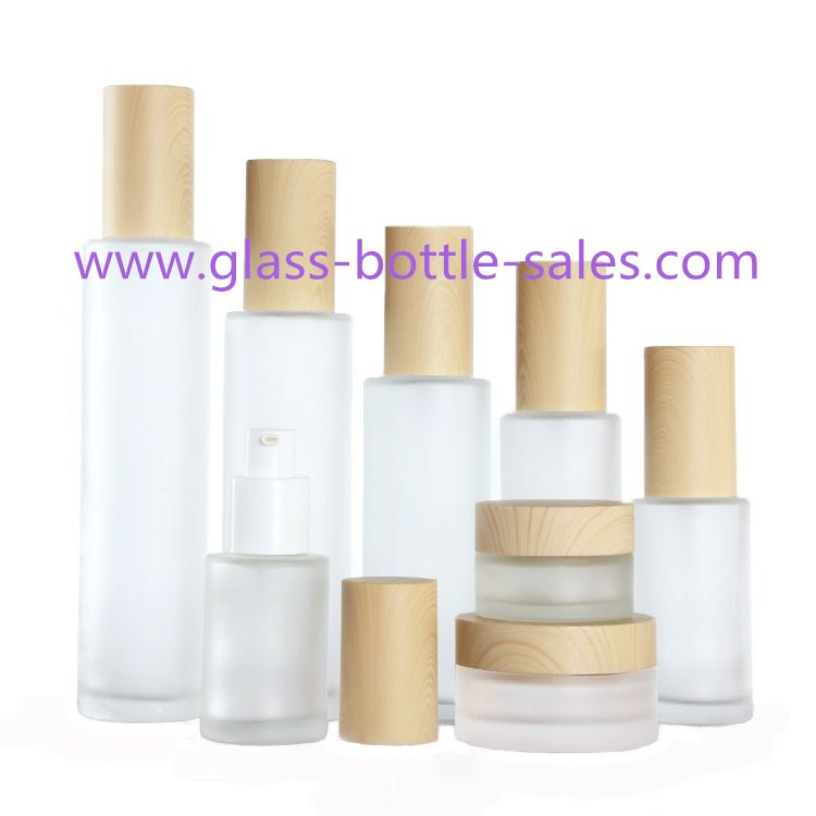 Clear,Frost Round Glass Lotion Bottles and Glass Cosmetic Jars With Wood Cap