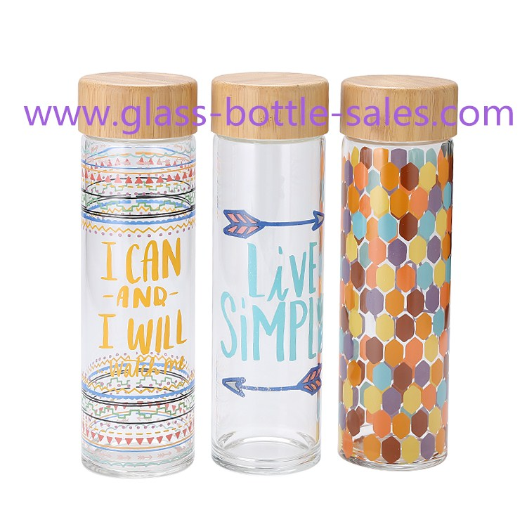 500ml High Borosilicate Glass Water Bottle WIth Bamboo Cap