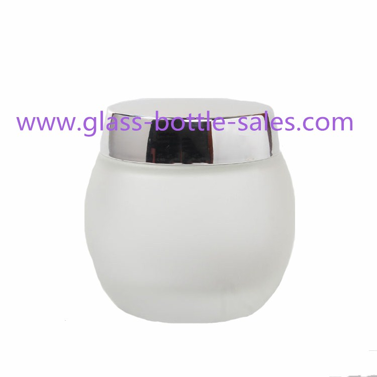 4oz Frost Ball Style Glass Cream Jar With Lid