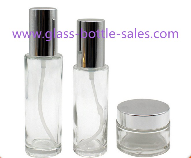Clear Round Glass Lotion Bottles And Glass Cosmetic Jars