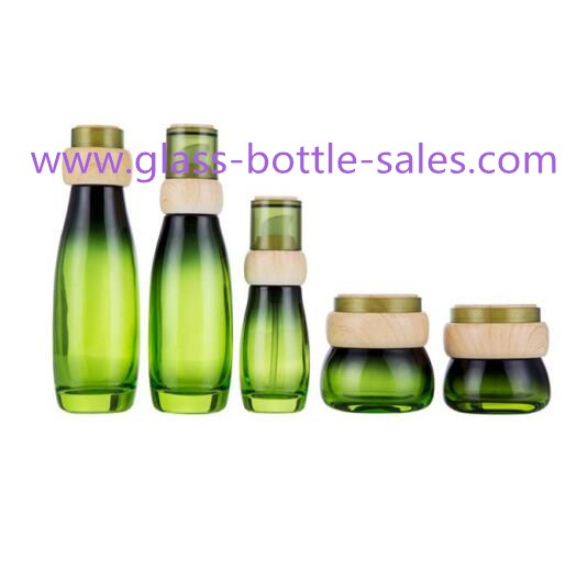 Hot Item 40ml,100ml,120ml,30g,50g Green Glass Cosmetic Bottles With Wood Caps For Skincare
