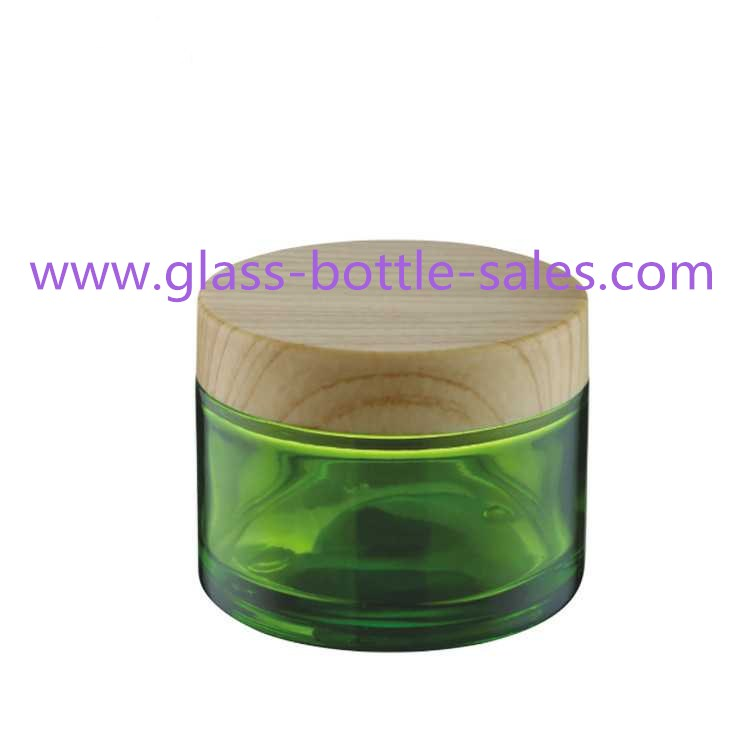 100g Green Round Glass Cosmetic Jar With Wood Lid