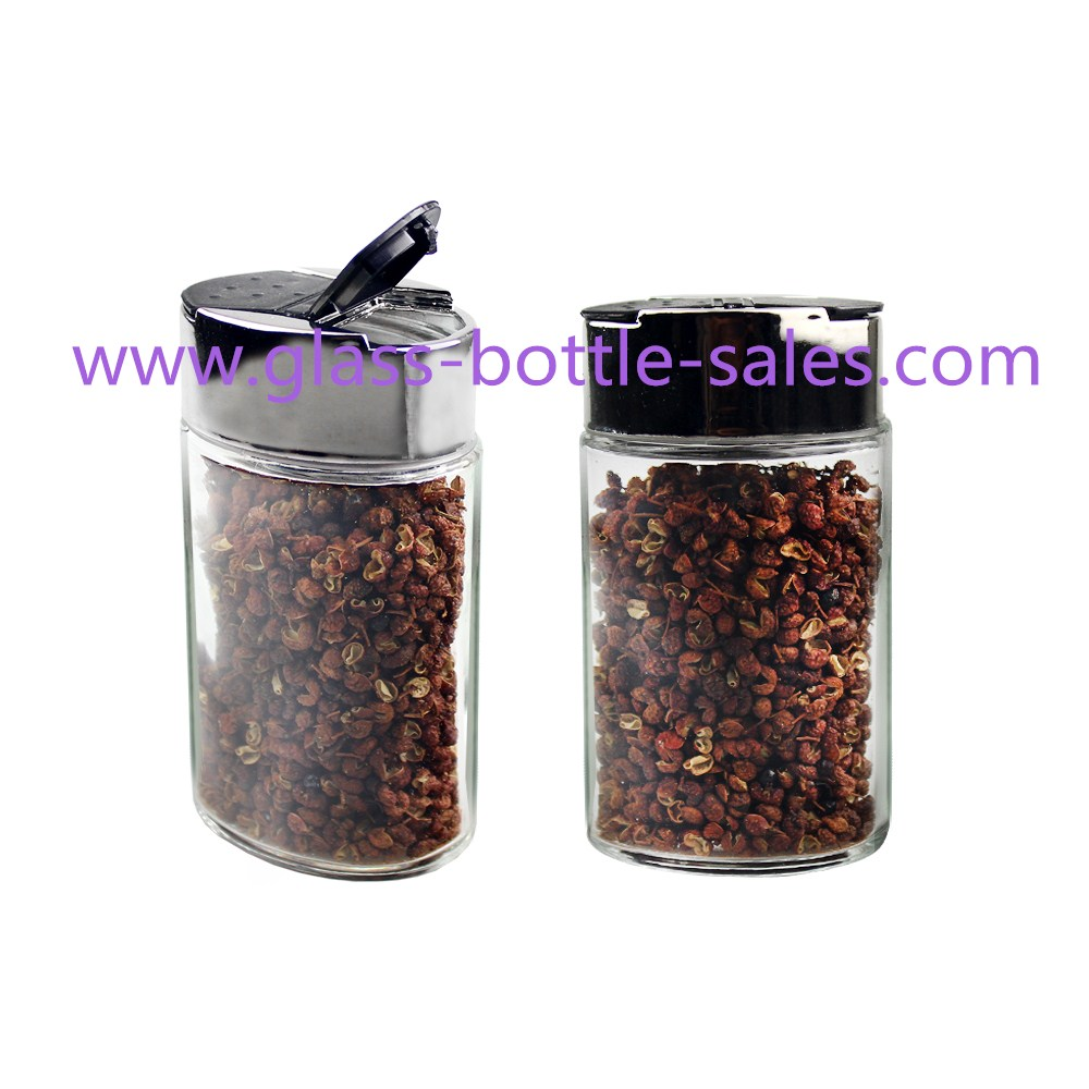 100ml Clear Flat Glass Spice Jar With Metal Lid