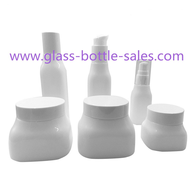 40ml,100ml,120ml,50g,150g,300g Opal White Glass Lotion Bottles And Cosmetic Jars