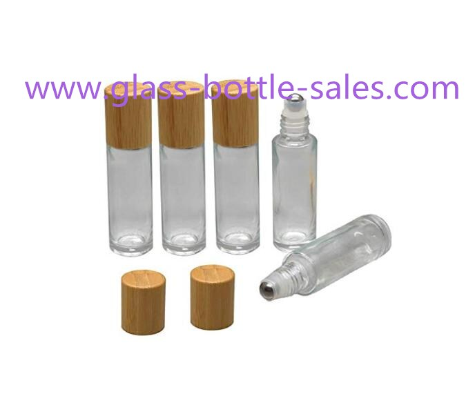 10ml Clear Perfume Roll On Glass Bottles With Bamboo Caps and Rollers