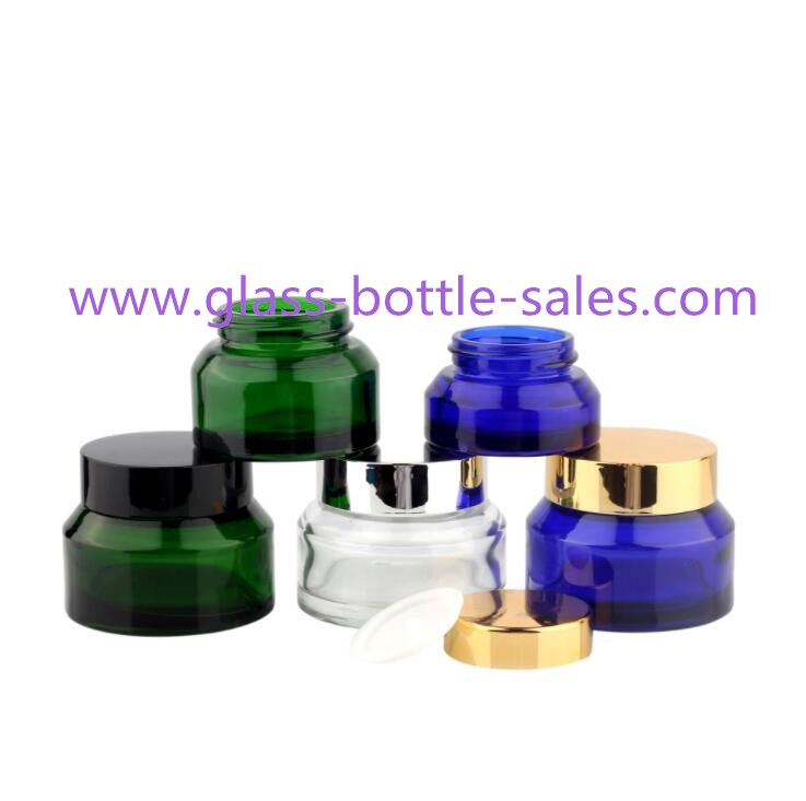 Clear,Amber,Blue,Green Sloping Shoulder Glass Cosmetic Jars With Lids