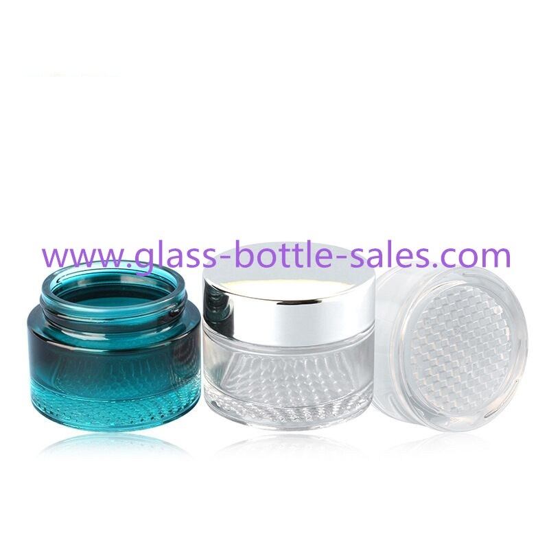 30g,50g Grille Glass Cosmetic Jars With Lids