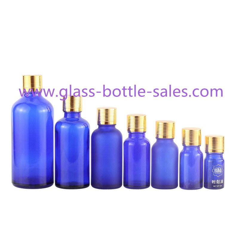 5ml-100ml Blue Essential Oil Glass Bottles With Gold Caps