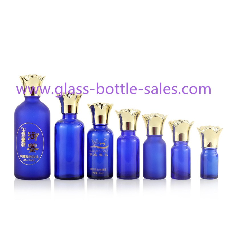 Blue Color Essential Oil Bottles With New Gold Flower Caps