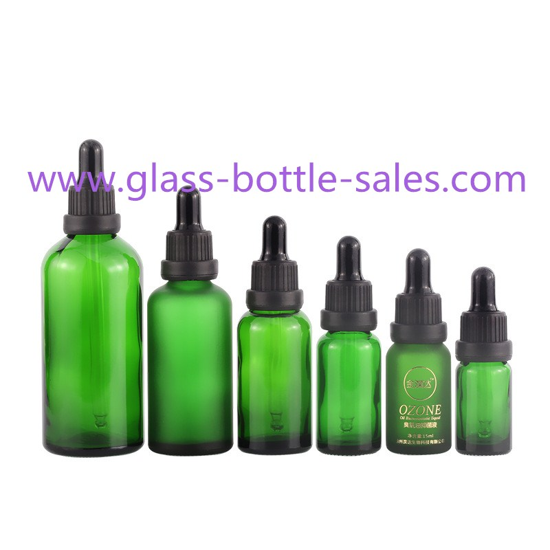 5ml-100ml Green Round Essential Oil Glass Bottles With Black Droppers