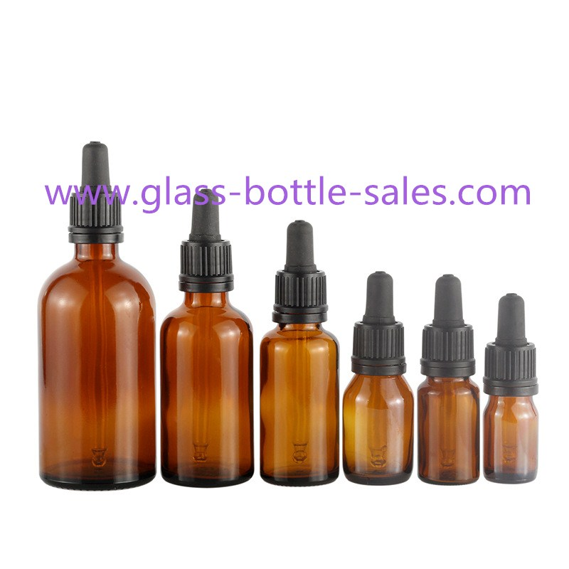 5ml-100ml Amber Color Essential Oil Bottles With Black Droppers